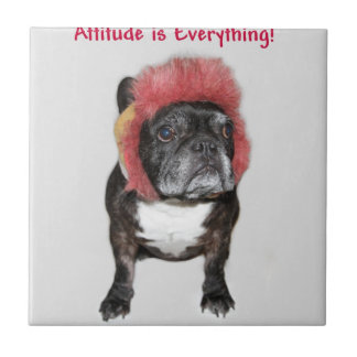 attitude is everything funny bulldog with hat small square tile
