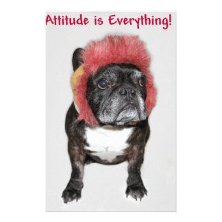 attitude is everything funny bulldog with hat personalized stationery