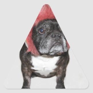attitude is everything funny bulldog with hat triangle sticker