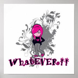 attitude whatever ermo girl vector art print