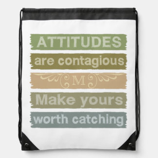 ATTITUDES custom monogram motivational bag