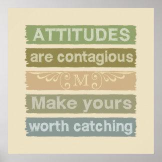 ATTITUDES custom monogram motivational poster