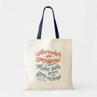 ATTITUDES motivational tote bags