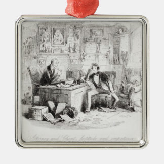 Attorney and Client, fortitude and impatience Silver-Colored Square Decoration