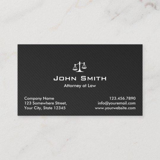 Attorney At Law Black Carbon Fibre Lawyer Business Card Zazzle