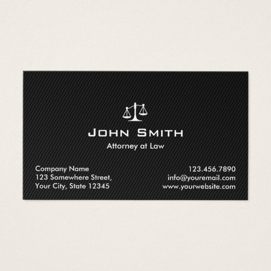 Attorney at Law Black Carbon Fibre Lawyer Business Card
