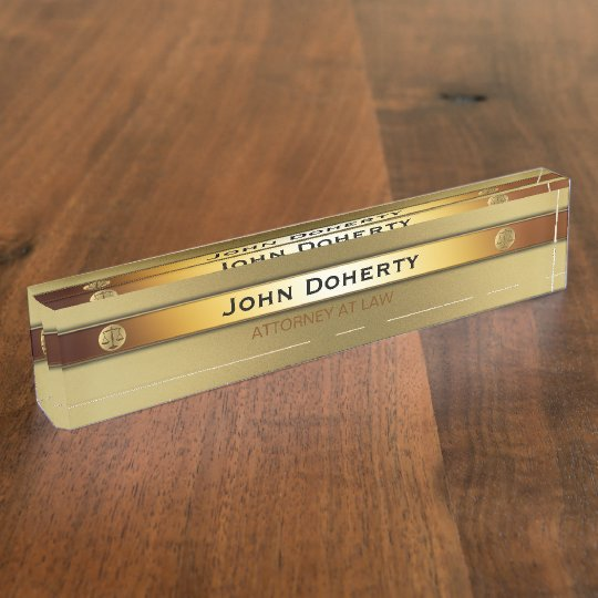 ATTORNEY AT LAW elegant gold Nameplate