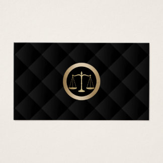 Attorney at Law Gold Scale Classy Black Quilted Business Card