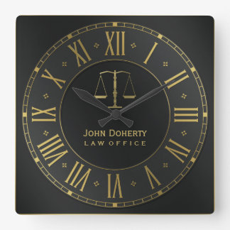 ATTORNEY AT LAW | Golden Personalizable Wall Clocks