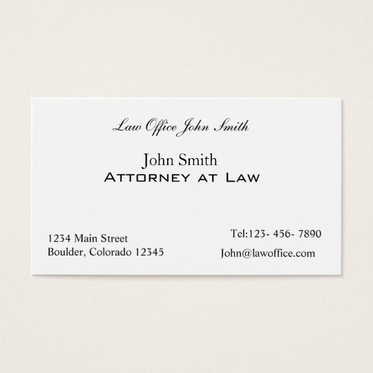 Attorney at law office business card