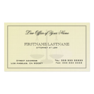 Attorney At Law Office Simple Linen  Texture Business Card Templates