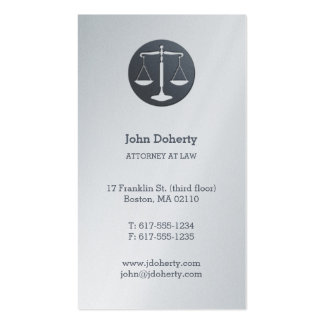 Attorney at Law | Platinum Scales of Justice Pack Of Standard Business Cards