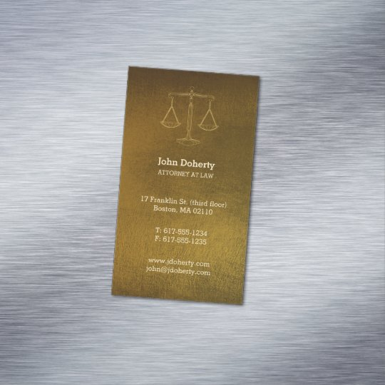 Attorney at Law | Professional Golden Magnetic Business Card