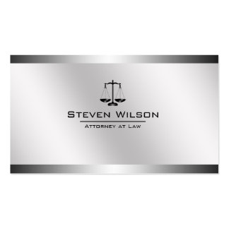 Attorney At Law White and Silver Steel Legal Scale Pack Of Standard Business Cards