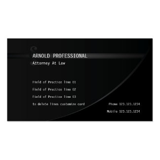 Attorney Business Card Black Lawyer Justice Law