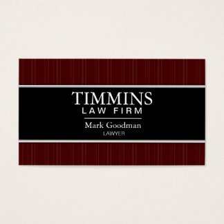 Attorney Business Card - Bold Banner Black & Red