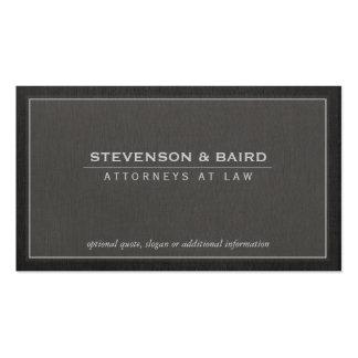 Attorney Dark Grey Linen Look Business Card
