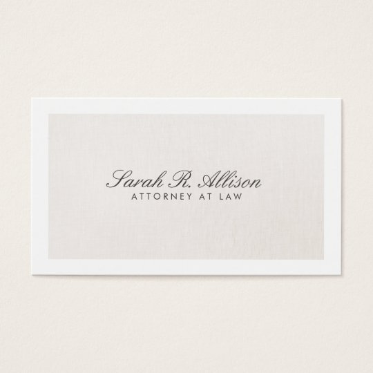 Attorney Faux Linen Elegant Light Beige Business Card
