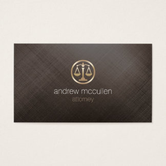 Attorney Justice Scales Icon Gold BrushedMetal Law Business Card