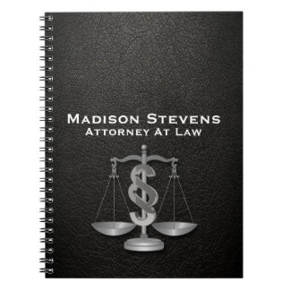 Attorney Justice Scales Lawyer Leather Spiral Notebook