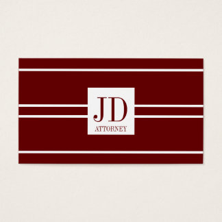 Attorney Lawyer Dark Cherry White Striped Pendant Business Card