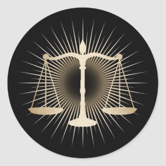 Attorney Lawyer Gold Scale of Justice Elegant Law Classic Round Sticker