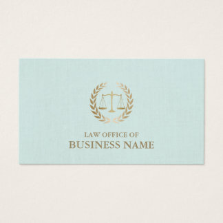 Attorney Lawyer Gold Scale of Justice Mint Linen Business Card