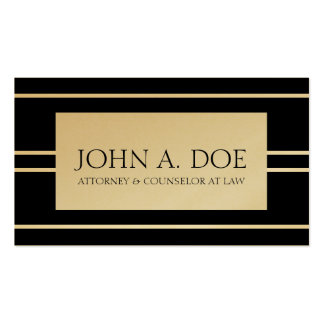 Attorney Lawyer Law Firm Black Golden Stripes Pack Of Standard Business Cards