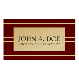 Attorney Lawyer Law Firm Cherry Gold White Stripes Pack Of Standard Business Cards