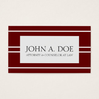 Attorney Lawyer Law Firm Dark Cherry White Stripes Business Card