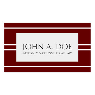 Attorney Lawyer Law Firm Dark Cherry White Stripes Pack Of Standard Business Cards