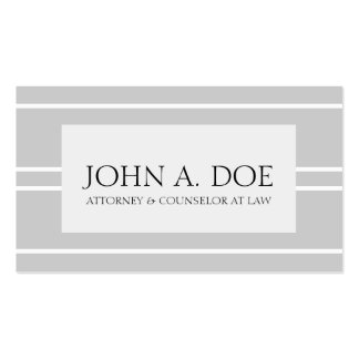 Attorney Lawyer Law Firm Light Silver White Stripe Pack Of Standard Business Cards