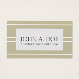 Attorney Lawyer Law Golden Tan White Stripes Business Card