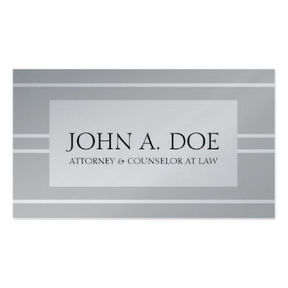 Attorney Lawyer Law Platinum Silver White Stripes Pack Of Standard Business Cards