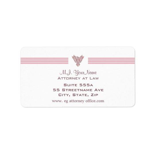 Attorney / Lawyer luxury stripes and pink phoenix Address Label