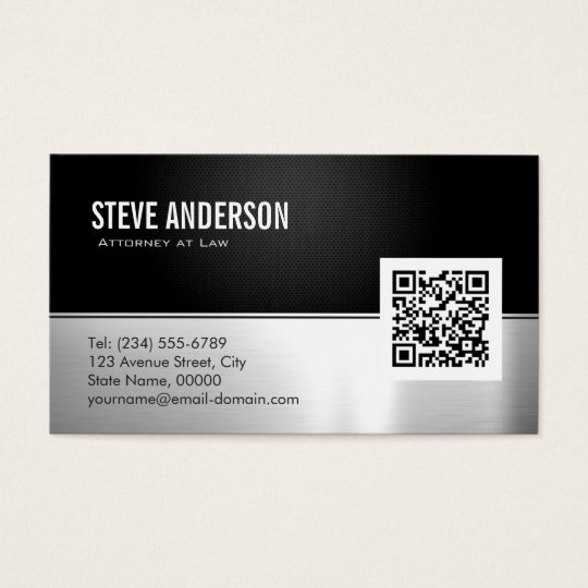 Attorney Lawyer Modern Black Metal Silver QR Code