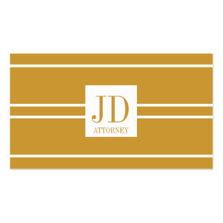 Attorney Lawyer Yellow Gold White Striped Pendant Double-Sided Standard Business Cards (Pack Of 100)