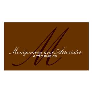 Attorney Monogram Brown Customizable Business Card