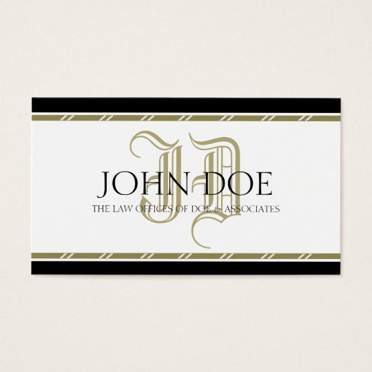 Attorney Roman Gold Monogram -AvailableLetterhead- Business Card