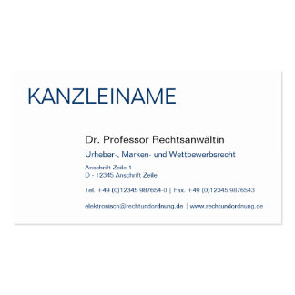 Attorneys visiting card pack of standard business cards
