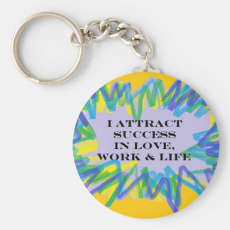 Attract Success Basic Round Button Key Ring