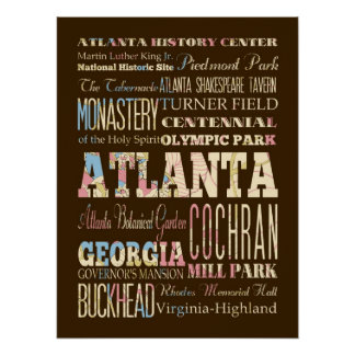 Attraction & Famous Places of Atlanta, Georgia Poster