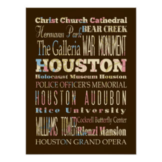 Attraction & Famous Places of Houston,Texas Poster