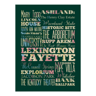 Attraction & Famous Places of Lexington Fayette,KY Poster