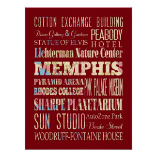 Attraction & Famous Places of Memphis, Tennessee Print