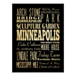 Attraction& Famous Places of Minneapolis,Minnesota Poster