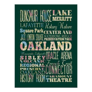 Attraction & Famous Places of Oakland, California Poster