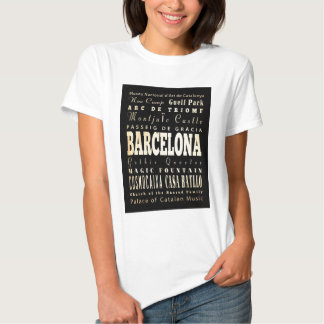 Attractions and Famous Places of Barcelona, Spain Tshirt