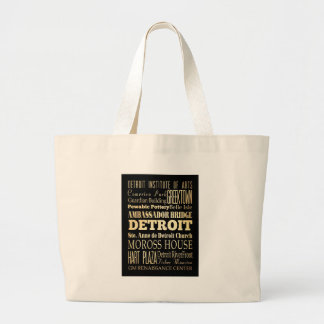 Attractions and Famous Places of Detroit, Michigan Jumbo Tote Bag