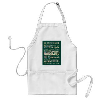 Attractions and Famous Places of Honolulu, Hawaii Standard Apron
